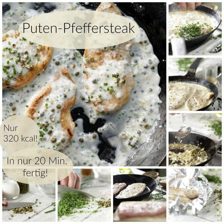 Schnitzel mit dem Bratensaft in die Pfanne geben und einmal aufkochen: Puten-Pfeffersteak – smarter in feiner Rahmsauce |http://eatsmarter.de/rezepte/puten-pfeffersteak-smarter