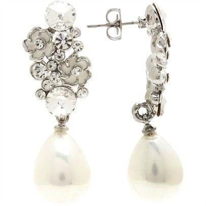 Cluster Pearl Drop EarringsOzsaleE171177-silver