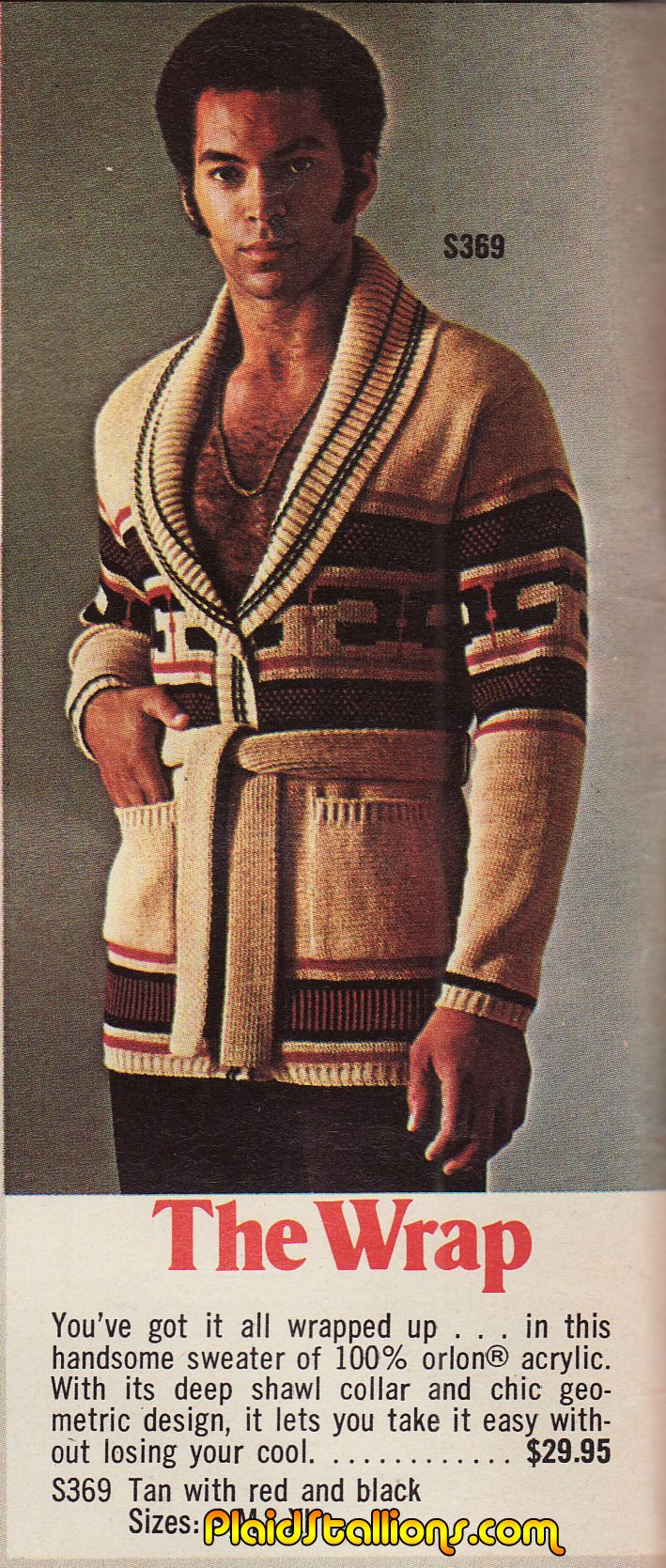 """The sweater suggests """"I have a sensitive side"""" but the shirtlessness boldly states """"but don't expect me to cry or some crap""""."""