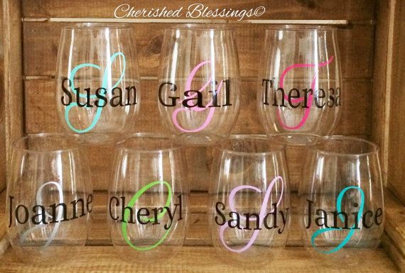 PLASTIC STEMLESS WINE GLASSES, MONOGRAM WINE GLASSES, ACRYLIC WINE GLASSES, PERSONALIZED WINE GLASSES, SET OF 1, BPA FREE, WEDDING, BRIDAL SHOWER, BACHELORETTE PARTY, 15 oz or 10 oz, SHATTER RESISTANT. OTHER DESIGNS AVAILABLE. PICK YOUR VINYL COLORS.  Plastic Stemless Wine Glasses are made of acrylic plastic and are BPA free. These plastic wine glasses are 15 oz 3w x 4.5h, or 10 oz 2.5w x 3.75h . These Plastic Wine glasses come personalized for you. You pick your vinyl colors for the initial…