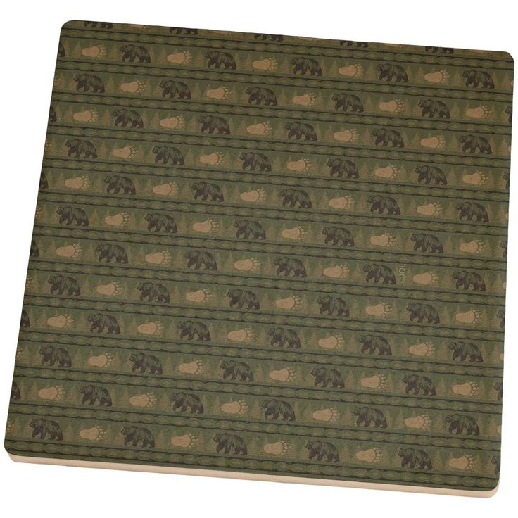 Grizzly Bear Adirondack Pattern Green Set of 4 Square Sandstone Coasters