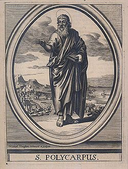 Polycarp (69 – 155) (Ancient Greek: Πολύκαρπος) was a 2nd century Christian bishop of Smyrna.[1] According to the Martyrdom of Polycarp he died a martyr, bound and burned at the stake, then stabbed when the fire failed to touch him.[2] Polycarp is regarded as a saint in the Roman Catholic, Eastern Orthodox, Oriental Orthodox, Anglican, and Lutheran churches.