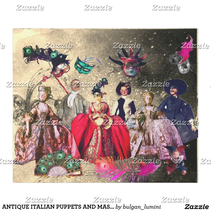ANTIQUE ITALIAN PUPPETS AND MASKS MASQUERADE PARTY WRAPPING PAPER #carnival #marionette #theater #puppetshow #fashion