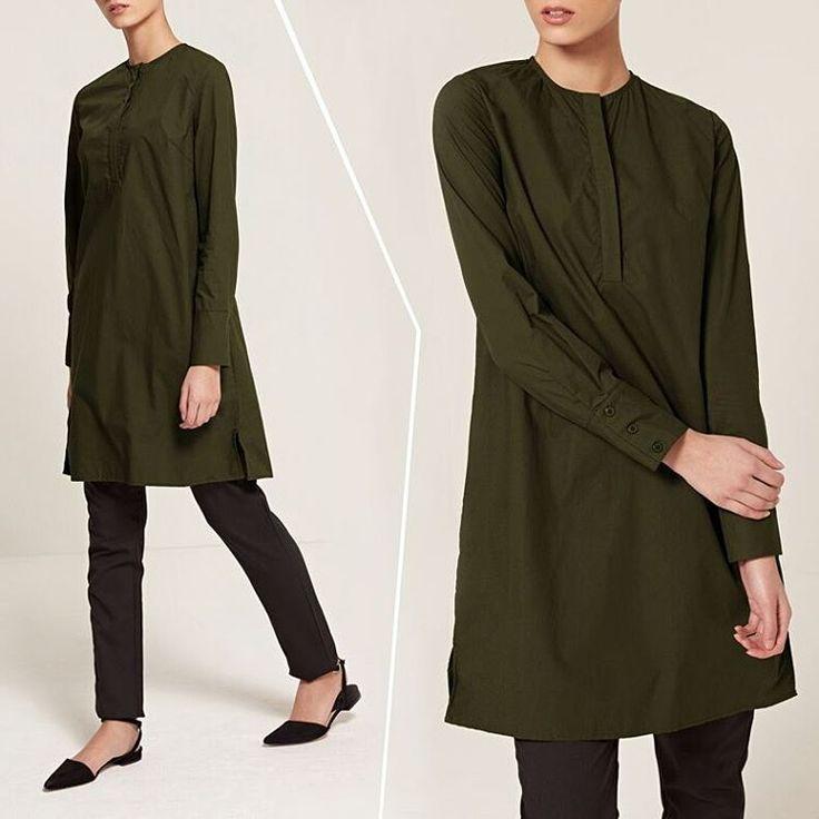 A timeless addition to your wardrobe.  Khaki Collarless Midi Shirt Black Straight Leg Trousers www.inayah.co