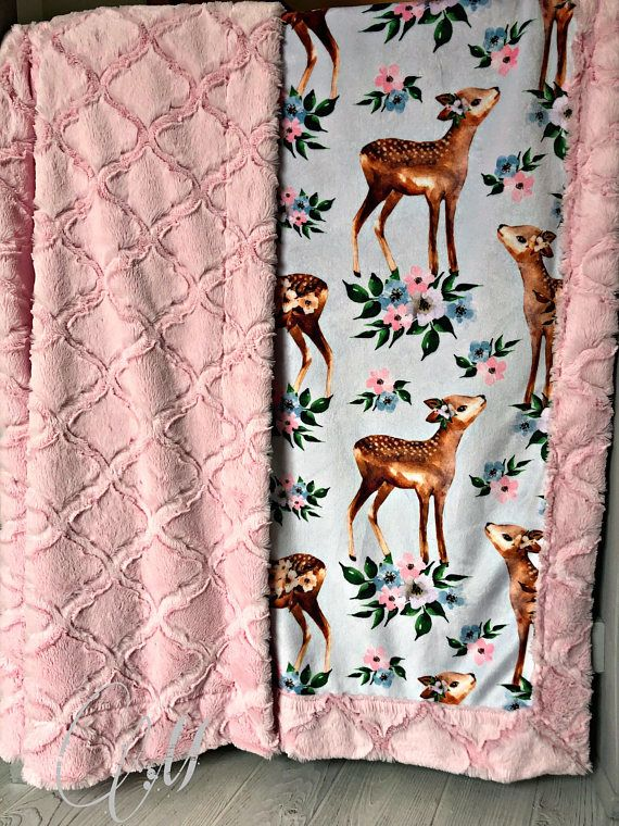 ***Options*** Please read carefully!! Beautiful Deer with pink lattice backing. Minky blankets are minky on both sides. Check shop info for turnaround time. Minky Baby blanket - Measures approximately 28x38 inches. Great for strollers, car seats, swaddling etc Minky Toddler/Crib -