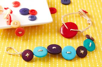 Dig into your button collection to craft fashionable bracelets.