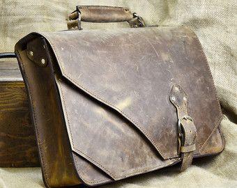 Leather Briefcase Men Messenger Bag Distressed by DivinaDenuevo