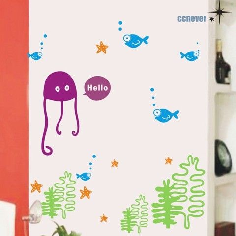 ocean sealife fish seastar graphic art wall decals stickers home decor