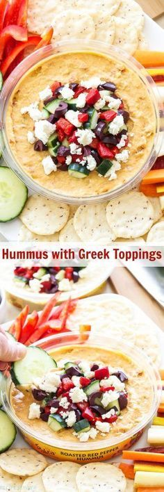 Hummus with Greek Toppings | Turn an ordinary container of hummus into a delicious, custom creation by adding a few toppings to it! #UnofficialMeal