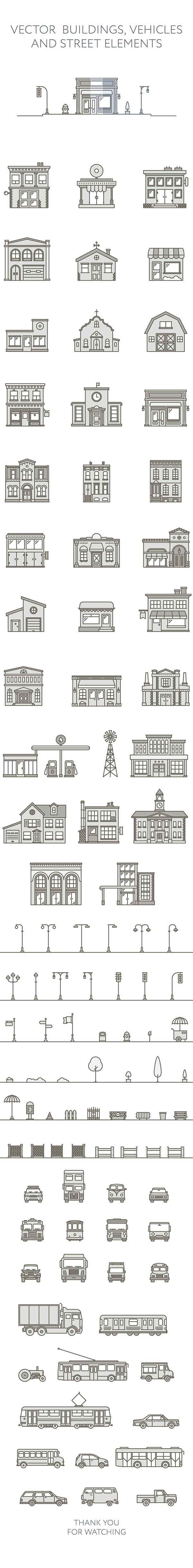 Vector buildings and street elements on Behance