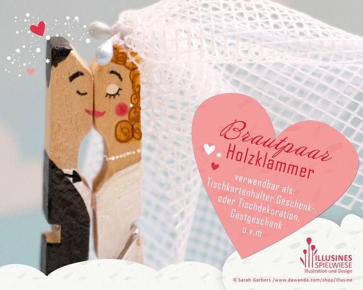 Gastgeschenke - Brautpaar Holzklammer | Geschenk Tischkartenhalter - ein Designerstück von Illusine bei DaWanda