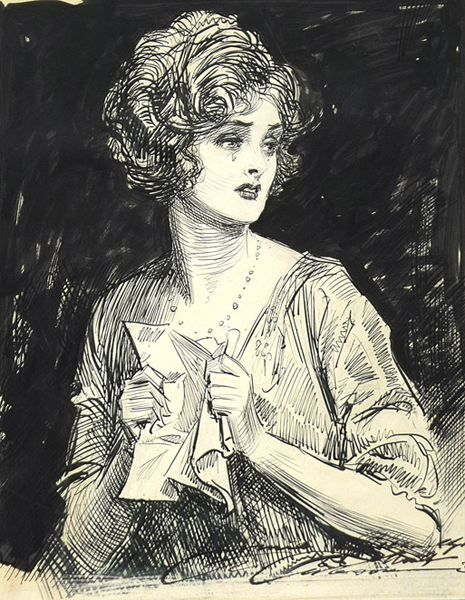 """Gibson Girl - """"The Disappointing Letter"""" by Charles Dana Gibson - LIFE Magazine, August 1923"""