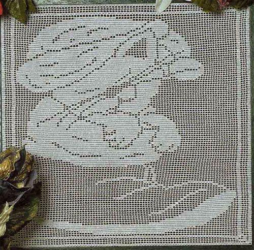 Схема вязания крючком филейной