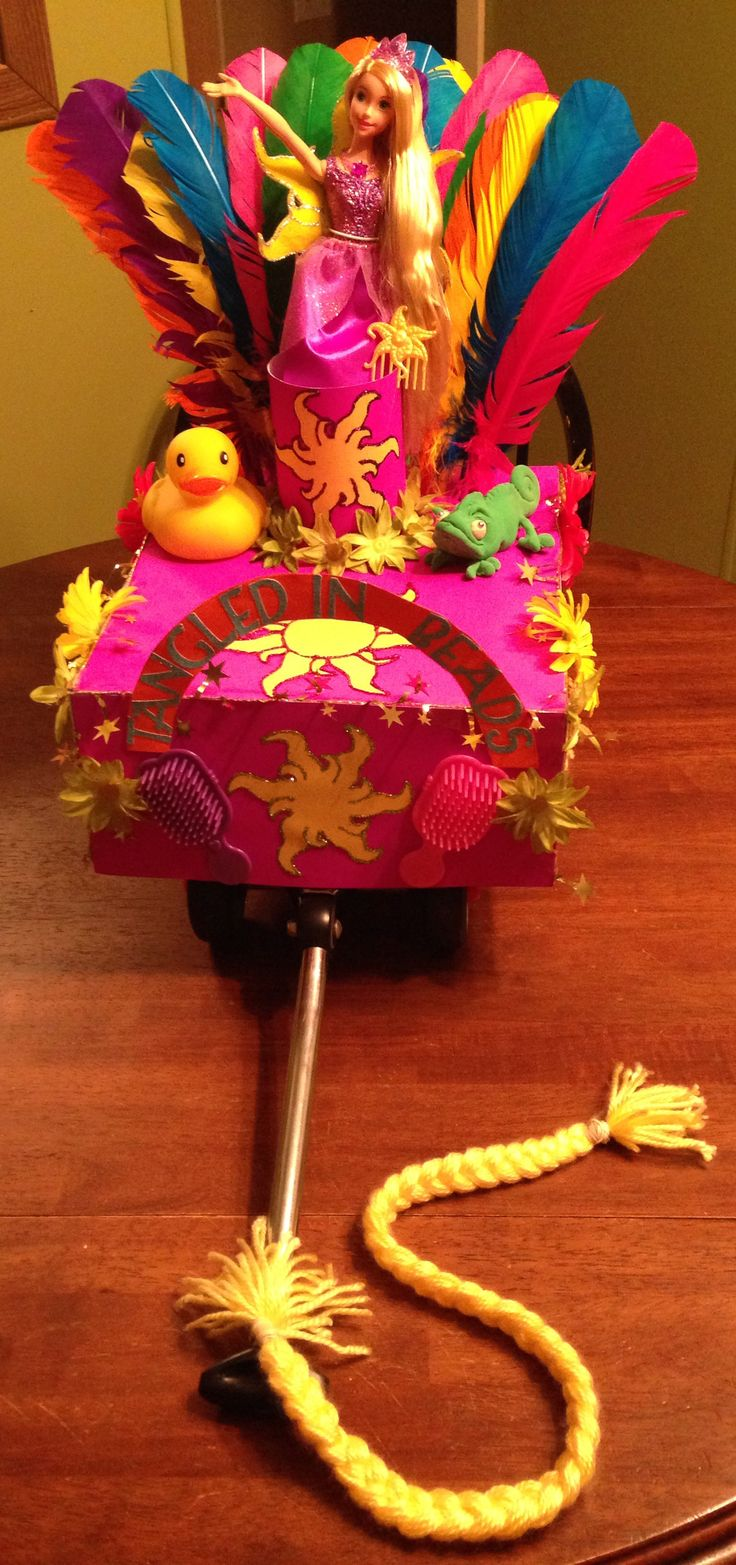 Tangled Mardi Gras Shoebox Float~~~ Made chameleon from model magic by crayola. My little girls daycare is having a shoebox float parade and of course I'm a super competitive mom!