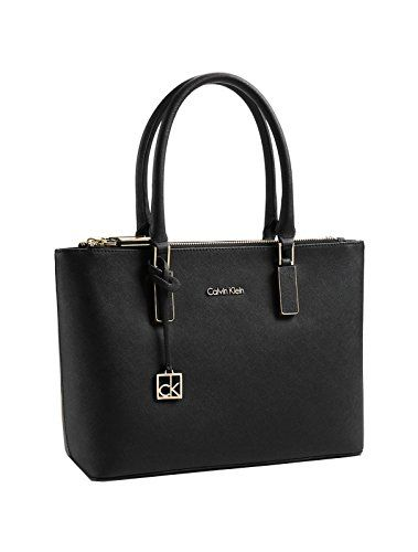 Calvin Klein Scarlett Double Zip Carry All Bag Handbag Black Tote Purse