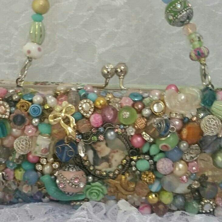 Opposite side of our LOVE HOPES ALL THINGS clutch bag.    It's a labor of love adding every bead, crystal, pearl, sequin  and trinket to this lovely bag.