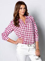 Camisa mujer manga larga regulable cuadros