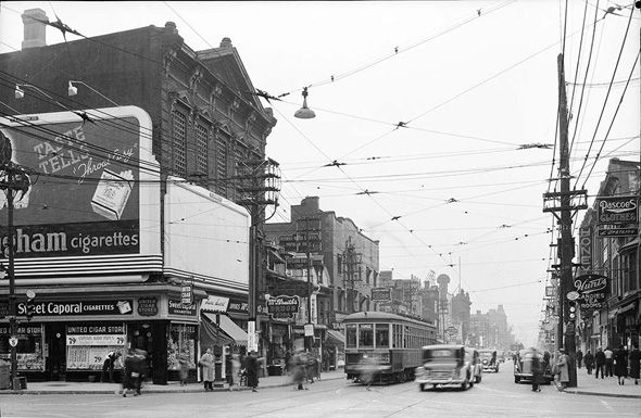 Yonge looking south from Bloor, Toronto, 1938. #vintage #1930s #Canada (pinned by www.redwoodclassics.net).