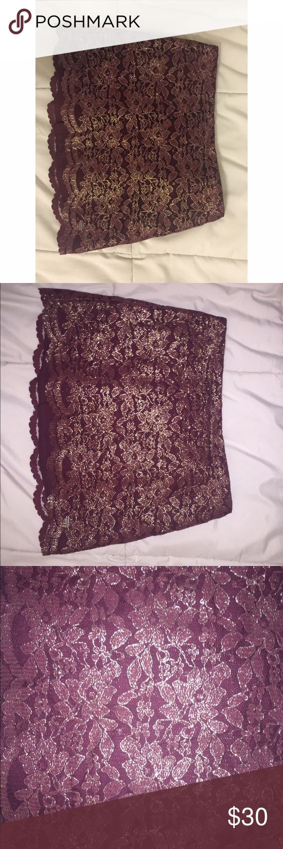 Abercrombie and Fitch mini skirt I am selling my Abercrombie maroon and gold lace mini skirt. Great for a going out look. It's been worn before, but not in many many years. It's still great condition. Feel free to make me an offer✨ Abercrombie & Fitch Skirts Mini