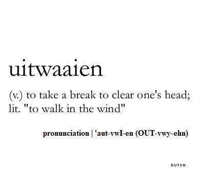 "uitwaaien (v.) to take a break to clear one's head; lit. ""to walk in the wind"""