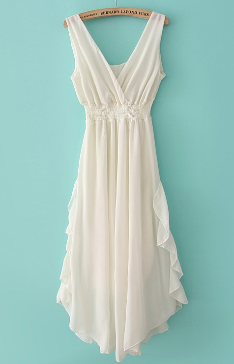 White V Neck Bandeau Ruffles Chiffon Dress - Sheinside.com - perfect little dress for hot summer days.
