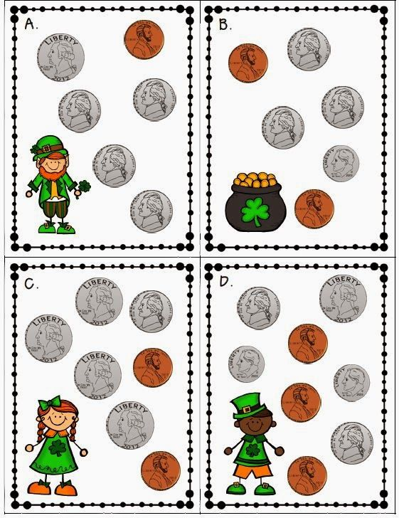 Counting money Freebie--2.MD.8 Solve word problems involving dollar bills, quarters, dimes, nickels, and pennies--St. Patrick's Day math center for second grade