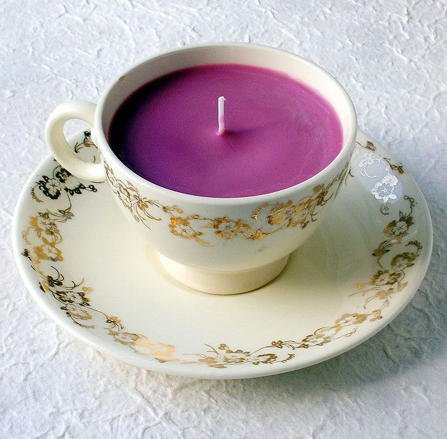 Tea cup candle!  Craft store wick, old candles to melt or wax, fragrance, and a tea cup (with or without the saucer).  Makes a cute gift or table decoration.