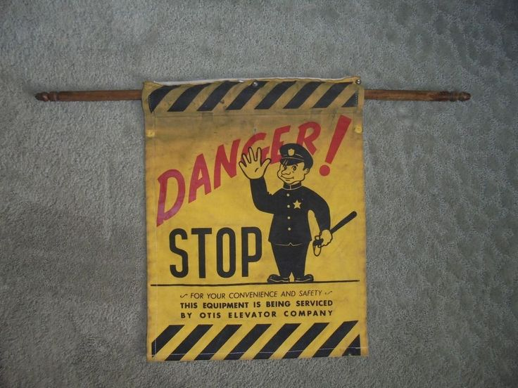Vintage Otis Elevator Company Danger Stop Service Sign Canvas Industrial Police  #OtisElevatorCompany