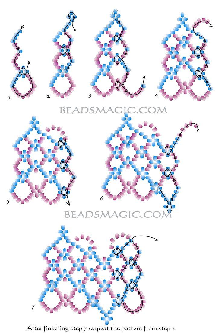 Ажурное колье из бисера (beading patterns free) | Салон Эксклюзивного Бисера beading patterns free