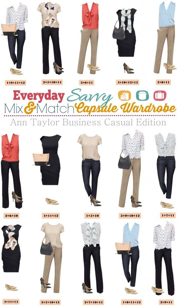 Ann Taylor business casual capsule wardrobe can help you think less about your clothing and more about everything else in your life. Plus you will still look great with these fantastic business casual outfits. Ann Taylor pieces are well made and have both a classic but on trend look.  Perfect for your on the go lifestyle.