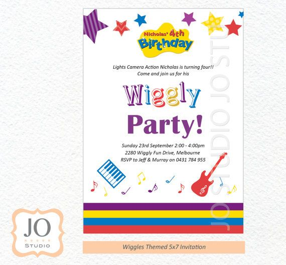 Custom Wiggles Invitation for a Wiggles by JoStudioPartyPaperie, $15.00