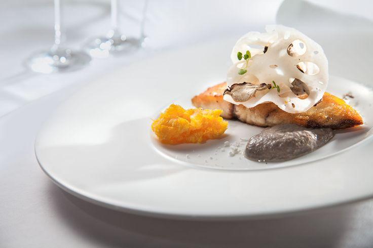Fish Confit with Lotus and Shiitake Salad Served with Mushroom Sauce and Orange Jam