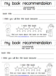 Classroom Freebies Too: Student Book Recommendation Form