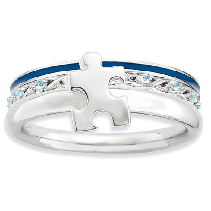 Autism Awareness Ring #autism #puzzle #blue #jewelry #band at generousgems.com