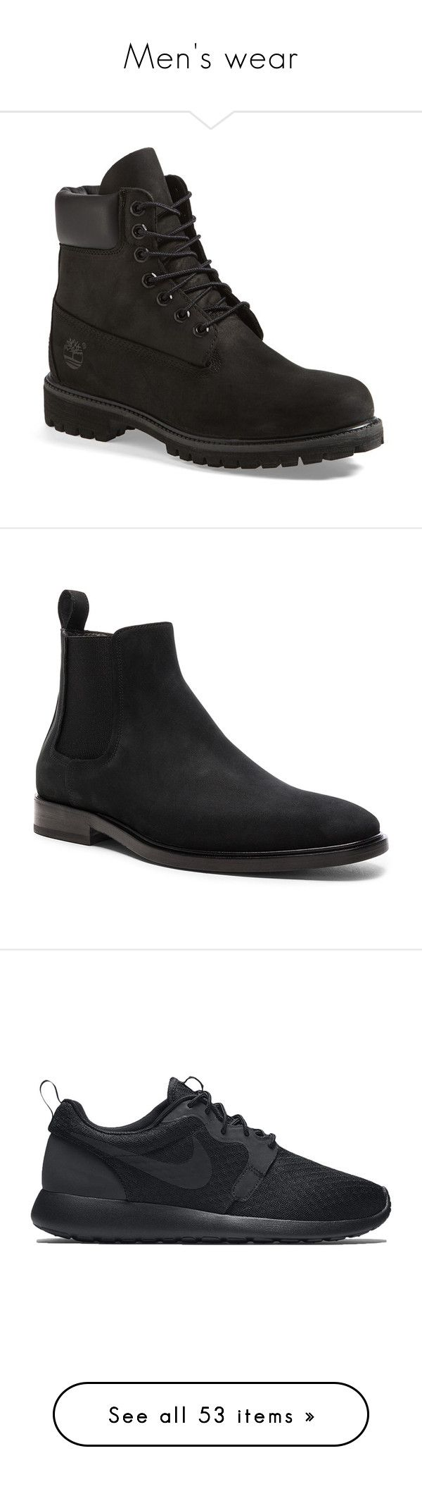 """""""Men's wear"""" by iamgabejeffers ❤ liked on Polyvore featuring men's fashion, men's shoes, men's boots, shoes, boots, men, socks and shoes, timberland, black and mens waterproof shoes"""