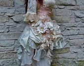 Handmade Peach Cream Victorian Wedding Lace Wedding Dress Bolero Faux Pearls Roses Leaves