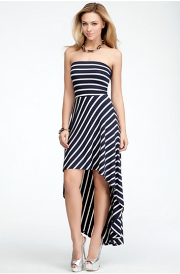 Strapless Stripe Hi-Lo Dress #bebeindonesia #summer