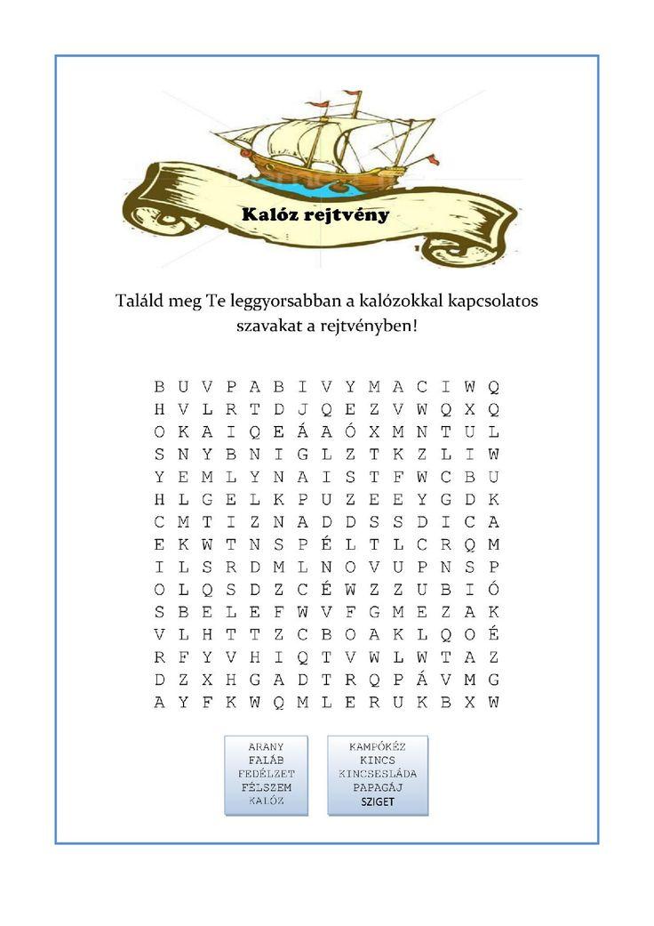Nyomtatható szókereső rejtvény - Kalóz bulira-page-001