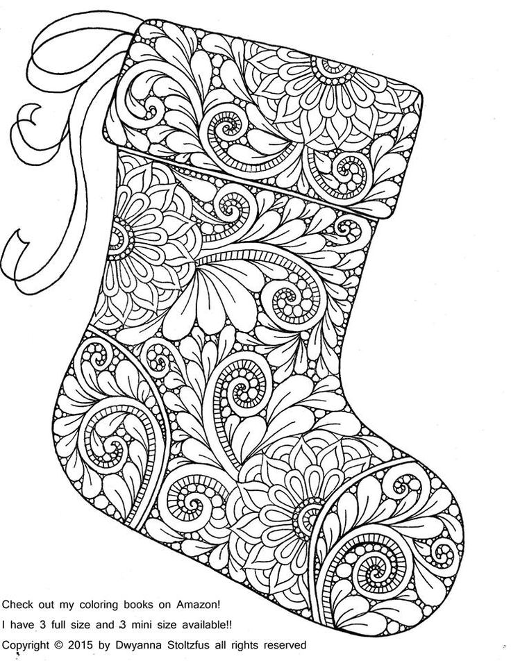 Paisley Christmas Stocking By Dwyanna Stoltzfus Coloring Pages Colouring Adult Detailed Advanced Printable Kleuren