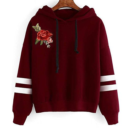 Women's Sports Going out Vintage Street chic Punk & Gothic Hoodie Floral Hooded Micro-elastic Cotton Polyester Long Sleeve Spring/Fall 2018 - $19.79