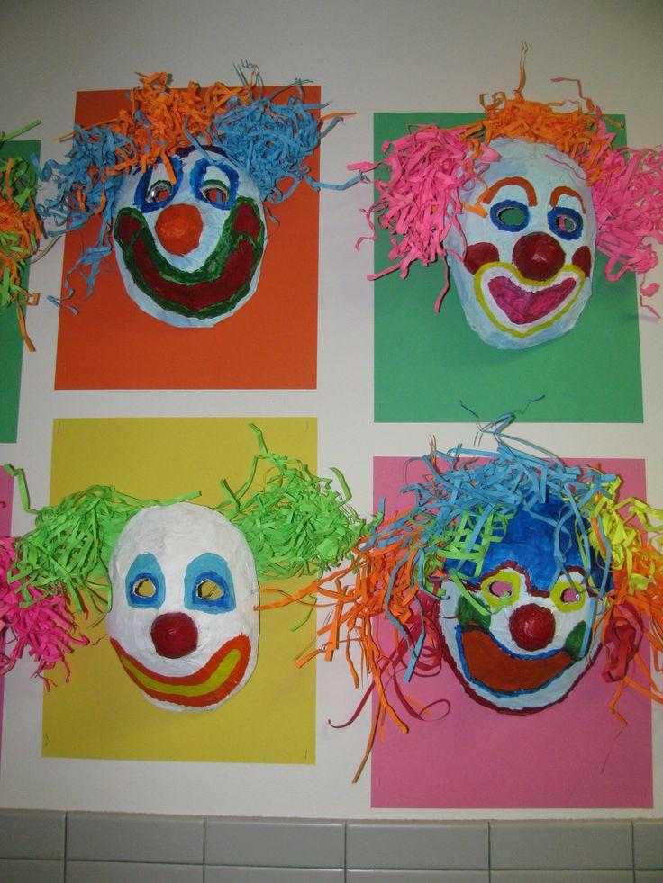 3rd grade paper mache clown mask; art teacher: Susan Joe
