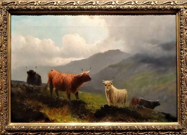 Henry Robinson Hall (1859-1927): Highland Cattle (pair) 1890 For Sale in Liverpool, Merseyside   Preloved
