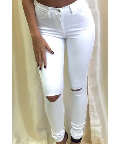 Knee Cut Out Bodycon Jeans