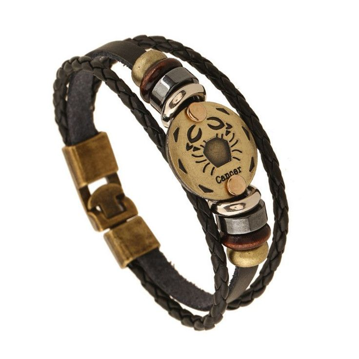 Each genuine ox-hide leather bracelet is adjustable with waxed cording and is adorned with a zodiac sign engraved in a round piece of polished metal. Rule the stars with this beautiful handmade leathe