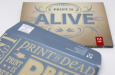 "Adobe ""Print is Dead"" direct mail. Designed by San Francisco agency G2"