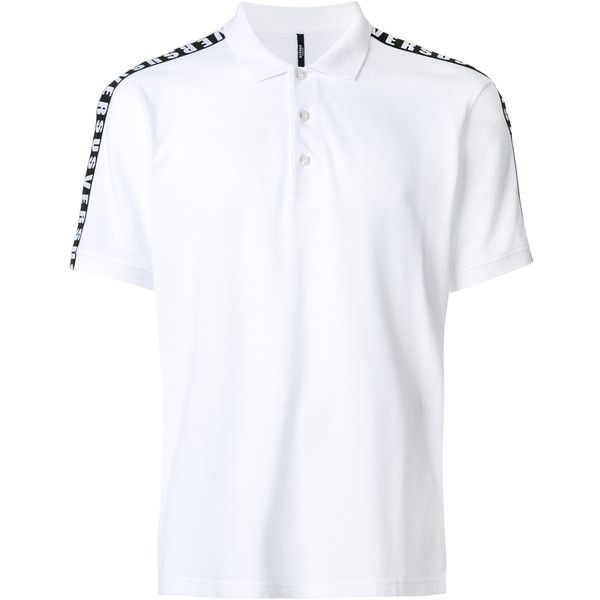 Versus logo polo shirt (2.593.780 IDR) ❤ liked on Polyvore featuring men's fashion, men's clothing, men's shirts, men's polos, white, mens logo t shirts, mens white shirts, mens polo shirts and mens white polo shirt