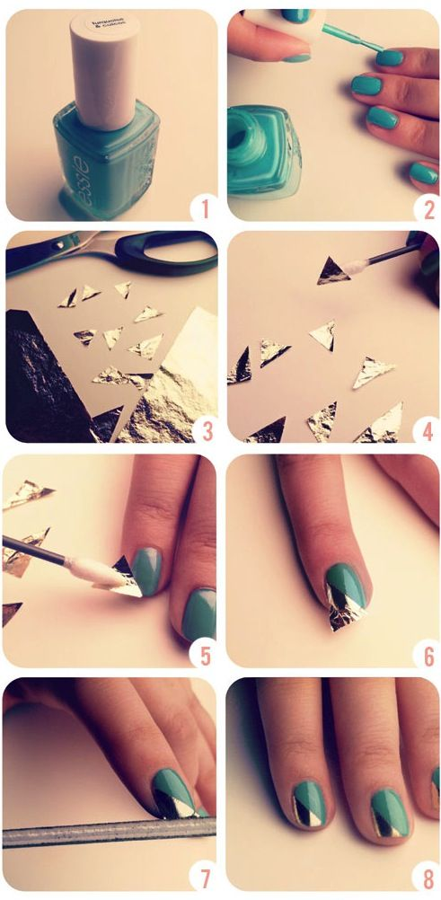 DIY nail art tutorial, Gold Leaf manicure, hand painted, do it yourself, step by step.