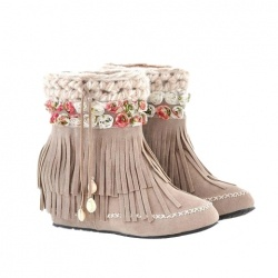 Casual Women's Short Boots With Weaving and Tassels Design YESS