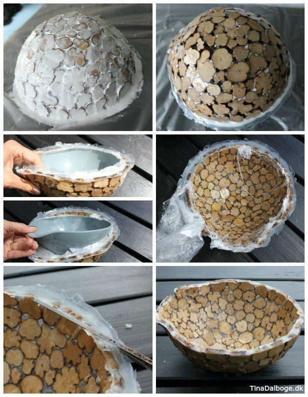 skål lavet af træskiver træmix og paverpol fra kreahobshop