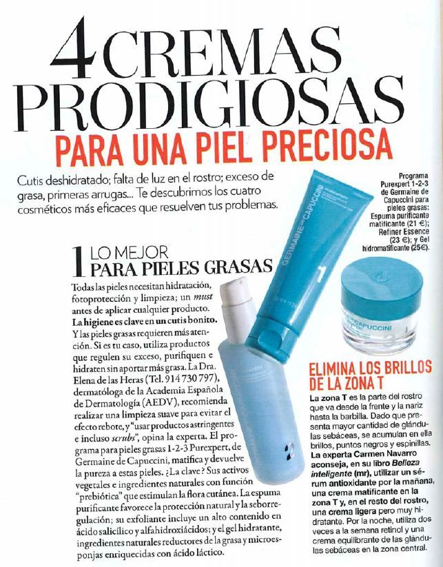La revista de belleza y moda GLAMOUR en su número de julio dedica una página al Programa 1-2-3 Pieles Grasas de Purexpert.      En el reportaje titulado '4 Cremas Prodigiosas' destaca este programa como el mejor para las pieles grasas; y resalta la importancia de la higiene facial, clave para cuidar la piel.